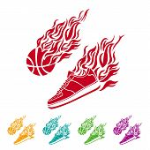 Basketball ball in flame sneakers vector icon color poster