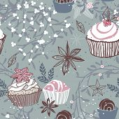 winter cupcake seamless pattern