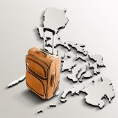 Travel To Philippines. Orange Suitcase On 3D Map Of The Country