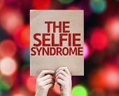 The Selfie Syndrome card with colorful background with defocused lights