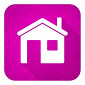 house violet flat icon, christmas button, home sign