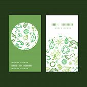 Vector ecology symbols vertical round frame pattern business cards set
