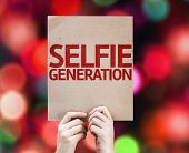 Selfie Generation card with colorful background with defocused lights