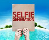 Selfie Generation card with a beach on background