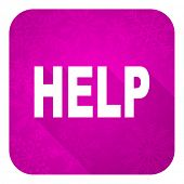 help violet flat icon, christmas button