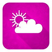 cloud violet flat icon, christmas button, waether forecast sign