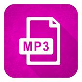 mp3 file violet flat icon, christmas button