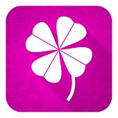 four-leaf clover violet flat icon, christmas button