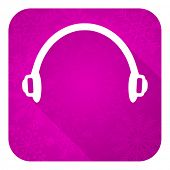headphones violet flat icon, christmas button