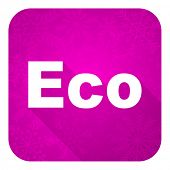 eco violet flat icon, christmas button, ecological sign