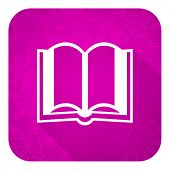 book violet flat icon, christmas button