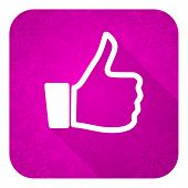 thumbs up violet flat icon, christmas button, thumb up sign