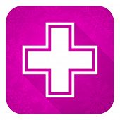 pharmacy violet flat icon, christmas button