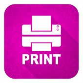 printer violet flat icon, christmas button, print sign