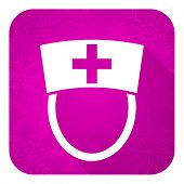 nurse violet flat icon, christmas button, hospital sign
