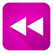 rewind violet flat icon, christmas button