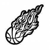vector, flame, fire, ball, black, basketball, symbol, icon,