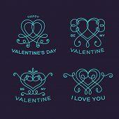 Graceful Floral Valentine Line Style Vector Heart Labels or Badges