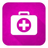 first aid violet flat icon, christmas button, hospital violet flat icon, christmas button