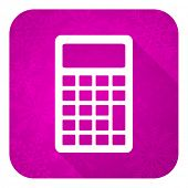 calculator violet flat icon, christmas button