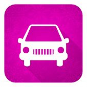 car violet flat icon, christmas button, auto sign