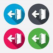 Emergency exit sign icon. Door with left arrow.