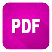 pdf violet flat icon, christmas button