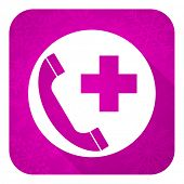 emergency call violet flat icon, christmas button