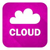 cloud violet flat icon, christmas button