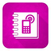 phonebook violet flat icon, christmas button