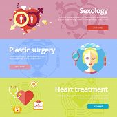 stock photo of heart surgery  - Set of flat design concepts for sexology - JPG