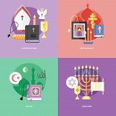 Set of flat design concept icons for religions and confessions. Icons for catholicism, orthodoxy, is