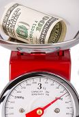 Folded Dollar On Scales. Currency Dollar.