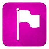 flag violet flat icon, christmas button