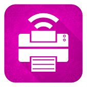 printer violet flat icon, christmas button, wireless print sign