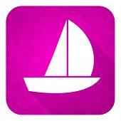 yacht violet flat icon, christmas button, sail sign