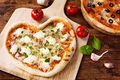 Romantic Heart Shaped Italian Pizza Margherita