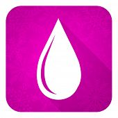 water drop violet flat icon, christmas button
