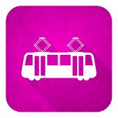 tram violet flat icon, christmas button, public transport sign
