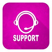 support violet flat icon, christmas button