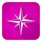 compass violet flat icon, christmas button