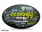 Vector concept or conceptual 3D oval or ellipse abstract green ecology and conservation word cloud text on white background