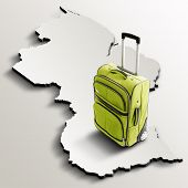 Travel To Guyana. Green Suitcase On 3D Map Of The Country