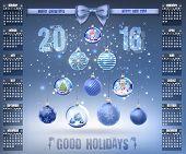 Calendar With Christmas Snow Glass Crystal Balls On 2016 In Vector
