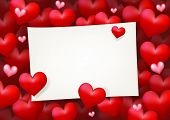 Blank Wedding Card Paper Surrounded by Floating Red Heart