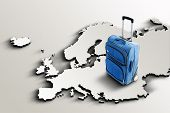 Travel To Europe. Blue Suitcase On 3D Map
