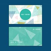Vector abstract fabric triangles vertical round frame pattern business cards set