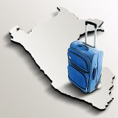 Travel To Peru. Blue Suitcase On 3D Map Of The Country