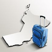 Travel To Oman. Blue Suitcase On 3D Map Of The Country