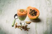 mousse with papaya and pistachio nut